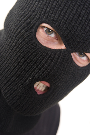 larceny: evil criminal wearing military mask