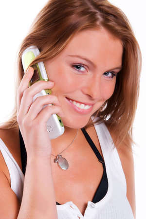 beautiful young woman calling by cellular phone photo