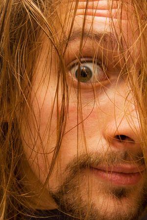 log hair: creepy looking young man with log hair