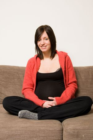 beautiful womb: young pregnant woman sitting on the sofa