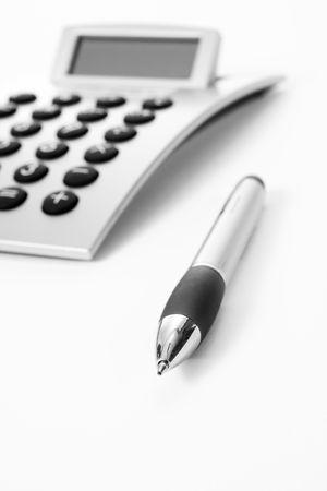 Pen and calculator (business background) Standard-Bild