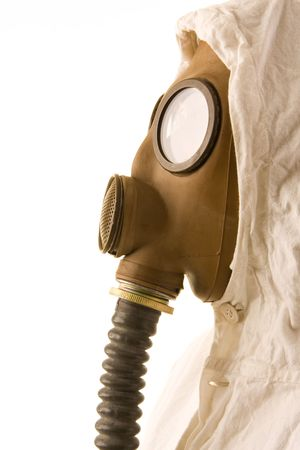 radium: Person in gas mask on white background Stock Photo