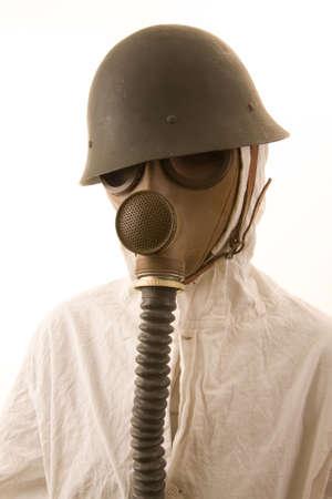 Person in gas mask on white background Standard-Bild