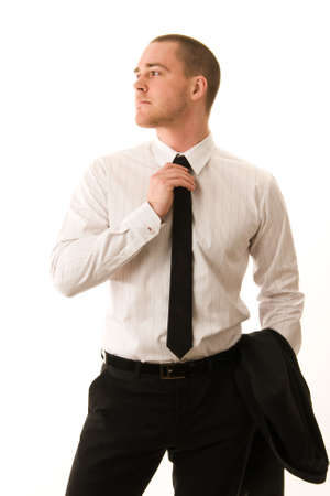Portrait of a young businessman on white background Standard-Bild