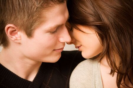 young couple in love, face to face Stock Photo