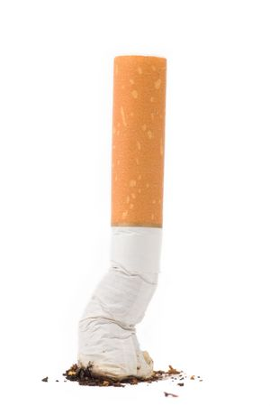 a cigarette butt on white background photo