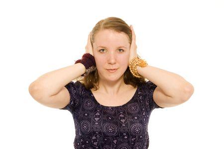 evil girl: non sentire il male (ragazza tenere entrambe le orecchie chiuse)