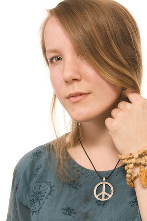 mujer hippie: mujer joven hippie retrato sobre fondo blanco  Foto de archivo