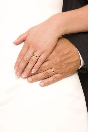 fidelity: Bride and bridegroom hands over wedding dress (wedding rings)