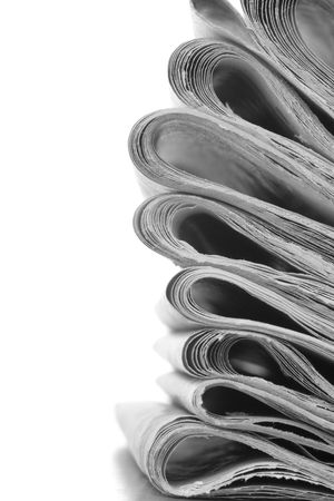 pile of news papers on white  Standard-Bild