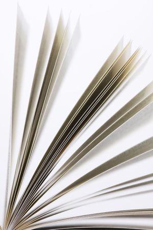 prose: book pages on white background close-up Stock Photo