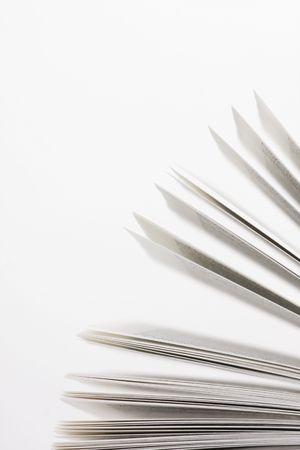 book pages on white background close-up Stock Photo