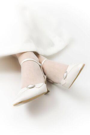 bridal shoes on white background
