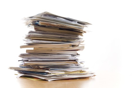 pile up: big stack of papers (documents)