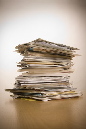 heap up: big stack of papers (documents)