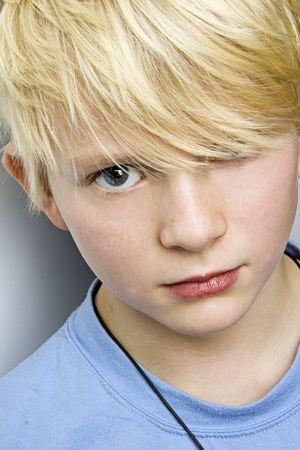 young blond caucasian boy portrait Stock Photo