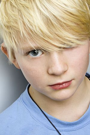 young blond caucasian boy portrait Stock Photo