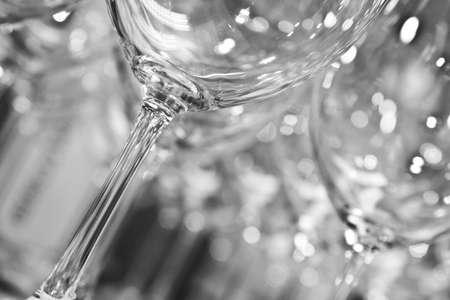 stemware: empty clean wine glasses in black and white