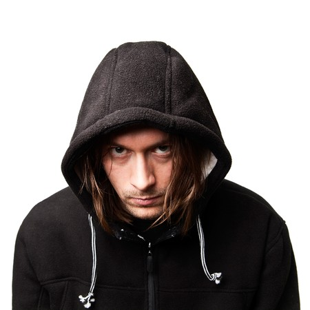 evil guy in a hood on white background photo
