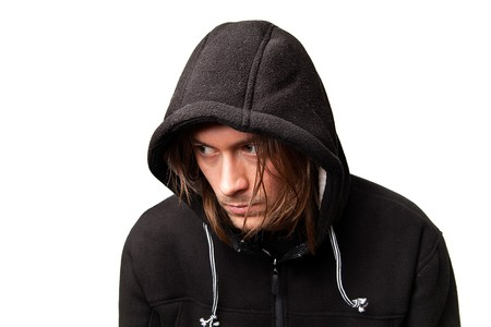 evil guy in a hood on white background Stock Photo - 8040053