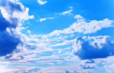 Beautyful blue sky with fleecy clouds Stock Photo