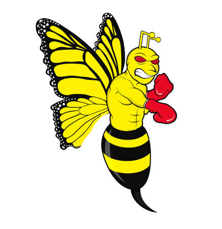 dominance: Illustration of a butterfly mixed bee in an angry fighter stance