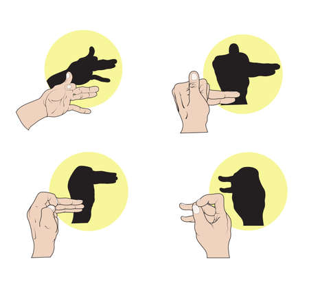 shadow puppets: Illustration of shadow hand puppets depicting dogs, a camel, and duck