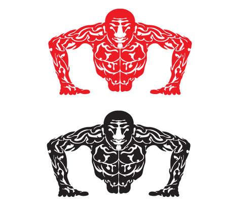 Illustratie van een abstracte man in push-up vorm