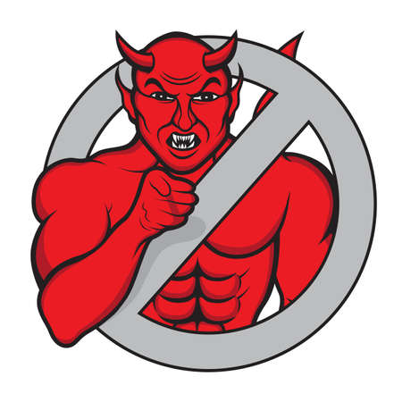 Illustration of an evil devil in an iconic stance pointing his finger to those who look Illustration