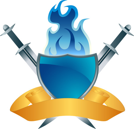 blue flame: Shield Sword Icon Illustration