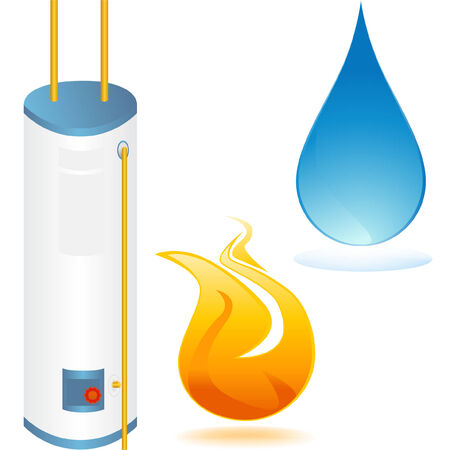 flame: water heater set Illustration