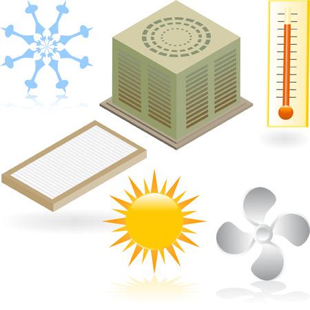 Aire Acondicionado Iconos Ilustración de vector
