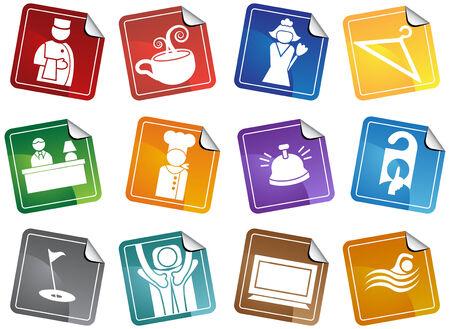 Hotel Icon Stickers Stock Vector - 4920183