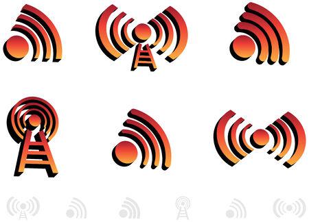Uitzenden van pictogrammen Stock Illustratie