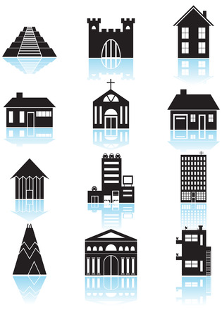building: World Travel Structures Black Illustration