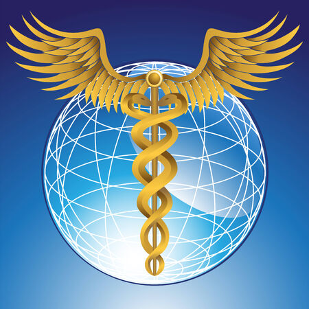 Caduceus Globe Gold Illustration
