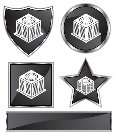 black satin: Air Conditioner Set : Black Satin and chrome buttons in star, shield, circle and square shapes.