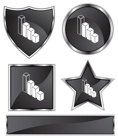 black satin: Bar Chart Set : Black Satin and chrome buttons in star, shield, circle and square shapes.