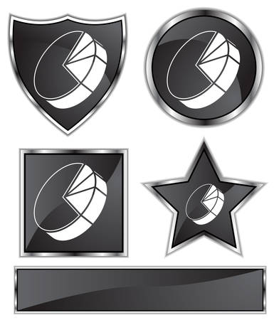 black satin: Pie Chart Set : Black Satin and chrome buttons in star, shield, circle and square shapes.