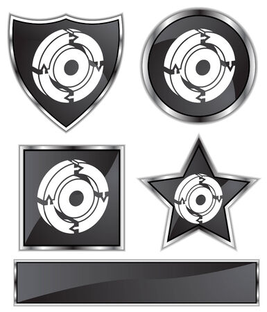 black satin: Process Diagram Set : Black Satin and chrome buttons in star, shield, circle and square shapes. Illustration
