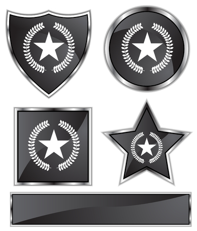 star: Star Wreath Set : Black Satin and chrome buttons in star, shield, circle and square shapes.
