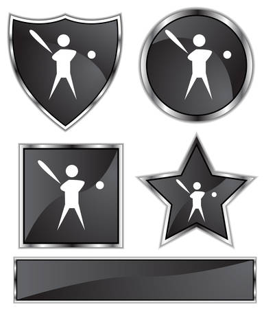 black satin: Baseball Player Set : Black satin and chrome buttons in star, shield, circle and square shapes.