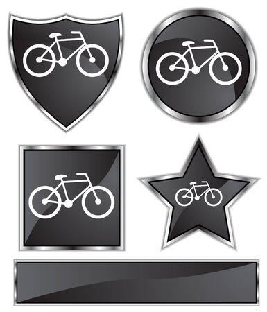 black satin: Bicycle Set : Black satin and chrome buttons in star, shield, circle and square shapes.