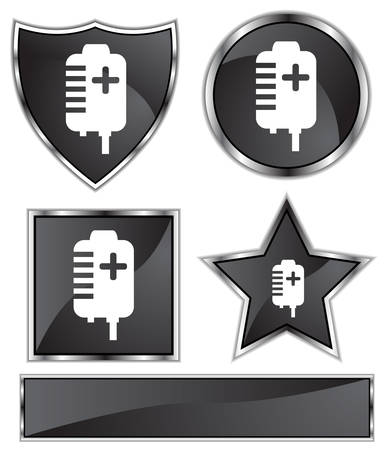 black satin: Plasma Bag Set : Black satin and chrome buttons in star, shield, circle and square shapes.