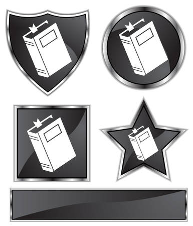 Book Set : Black satin and chrome buttons in star, shield, circle and square shapes.