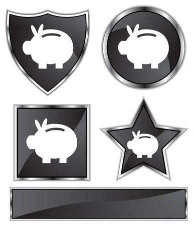 black satin: Piggy Banco Conjunto: Negro cromado satinado y botones de estrella, escudo, c�rculo y el cuadrado formas. Vectores