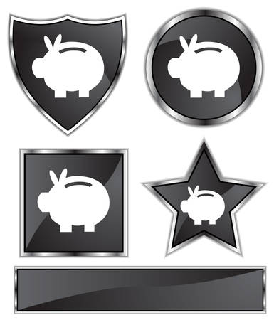 black satin: Piggy Bank Set : Black satin and chrome buttons in star, shield, circle and square shapes.
