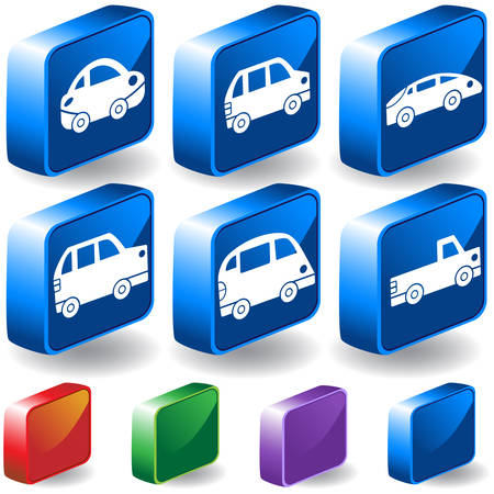 Car 3D Buttons : Set of blue travel isometric icons with drop shadow and  a variety of color options. Illustration