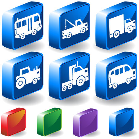 Vehicle 3D Buttons : Set of blue transportation isometric icons with drop shadow and  a variety of color options. Vector