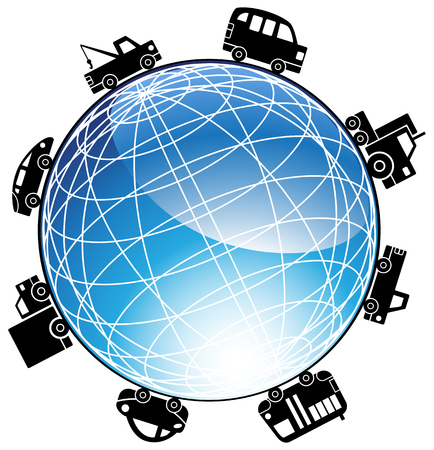 Cars Driving Around The World : Icon of different types of vehicles traveling around a three dimensional shiny globe. Vector